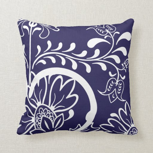 Modern Damask Floral Pattern   Navy Blue Throw Pillow