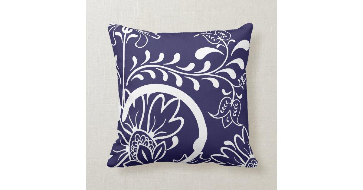 Modern Navy Pillows : Modern Damask Floral Pattern Navy Blue Throw Pillow Zazzle