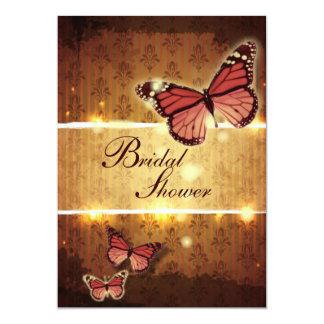 modern Damask glamorous Butterfly bridal shower Card