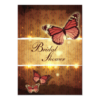 modern Damask glamorous Butterfly bridal shower Personalized Announcement