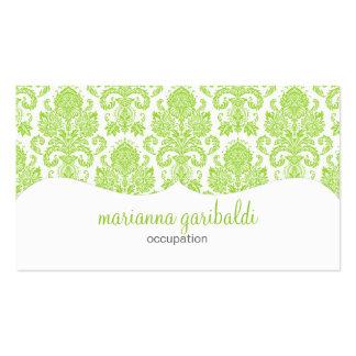 Modern Damask Green Personalized Business Card