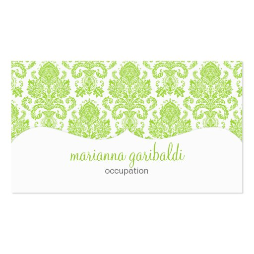 Modern Damask Green Personalized Business Card