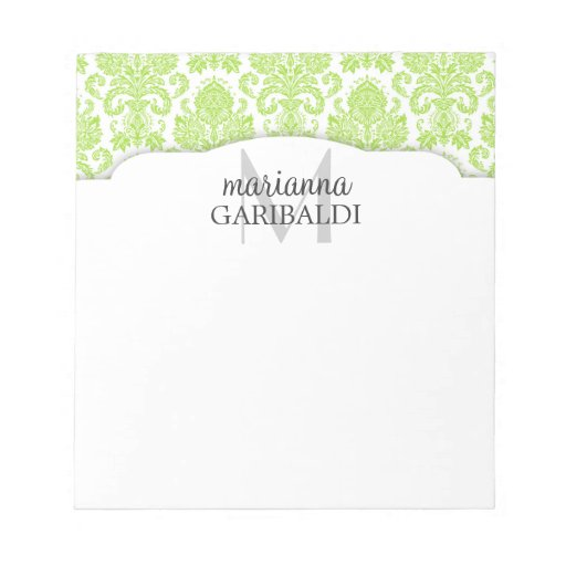 Modern Damask Green Personalized Memo Note Pad