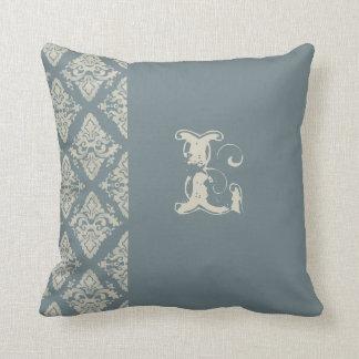 Modern Damask Hand Painted Monogrammed Decor Pillow