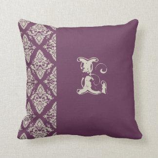 Modern Damask Hand Painted Monogrammed Decor Throw Pillows