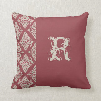 Modern Damask Hand Painted Monogrammed Decor Throw Pillow
