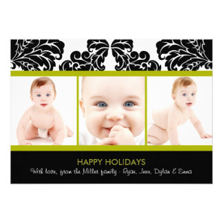 Modern Damask Holiday Photo Cards Announcements