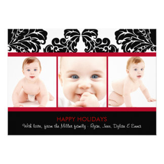 Modern Damask Holiday Photo Cards Personalized Invitation