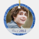 Modern Damask in Blue Photo Graduation 2012 Gift Ornaments