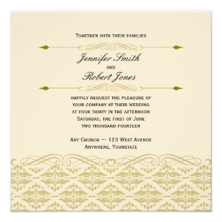 """Modern Damask in Ivory and Gold Wedding Invitation 5.25"""" Square Invitation Card"""