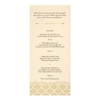 Modern Damask in Ivory Gold Wedding Menu Rack Card Design