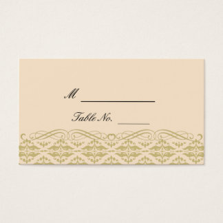 Modern Damask in Ivory Gold Wedding Place Cards