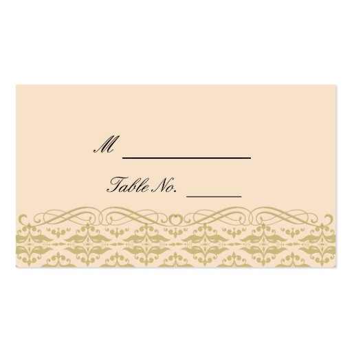 Modern Damask in Ivory Gold Wedding Place Cards Business Card Template