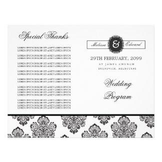 Modern Damask Monogram Wedding Program Booklet Custom Flyer