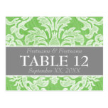 Modern Damask Pattern Wedding Table Numbers Post Card