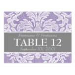 Modern Damask Pattern Wedding Table Numbers Post Cards