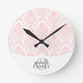 Modern Damask Pink Family Personalized Round Clock