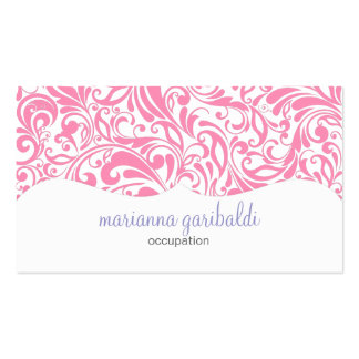Modern Damask Pink Personalized Business Card