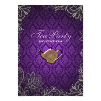 modern  damask purple bridal shower tea party card
