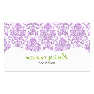 Modern Damask Purple Personalized Business Card Template