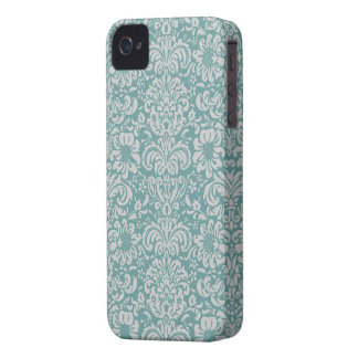 Modern Damask ~ soft Grey & Blue-green iPhone 4 Case