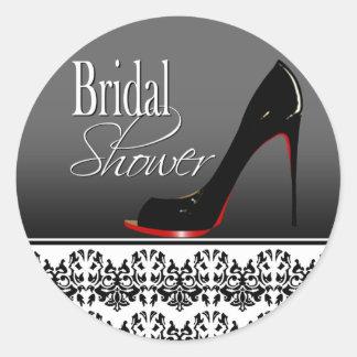 Modern Damask Stiletto Bridal Shower Classic Round Sticker