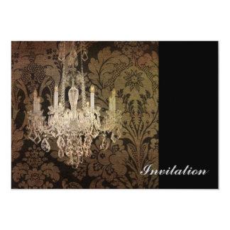 modern damask vintage crystal chandelier custom invitations