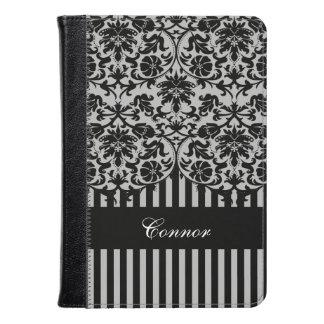 Modern Damask with Black & Gray Stripes Kindle Case
