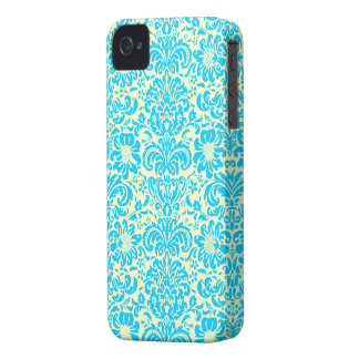 Modern Damask ~ Yellow and Blue Case-Mate iPhone 4 Case