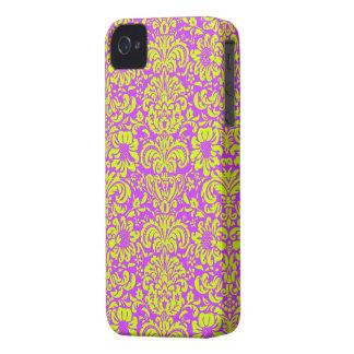 Modern Damask ~ Yellow and Purple iPhone 4 Case