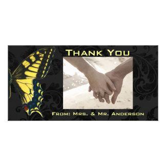 modern damask Yellow Butterfly Wedding thankyou Custom Photo Card