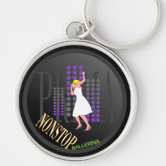 Modern dancer in white dress Silver-Colored round keychain