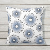 Modern Dandelion Flower Pattern Blue and White Throw Pillow