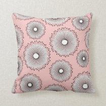 Modern Dandelion Flower Pattern Blush Pink Throw Pillow