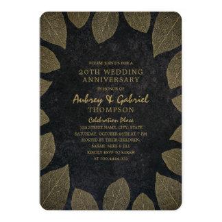 Modern Dark 20th Wedding Anniversary Golden Leaves Invitation
