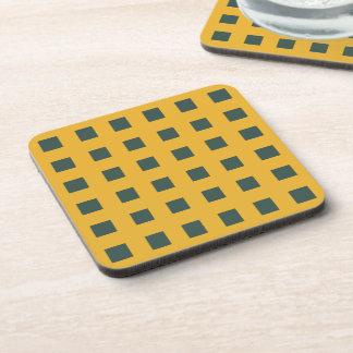 Modern dark arctic blue squares on yellow drink coaster