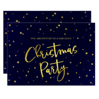 Modern Dark Blue & Gold Stars Christmas Party Card