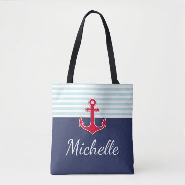 UnwrappedVisuals Modern Dark Blue Nautical Design Red Anchor Tote Bag