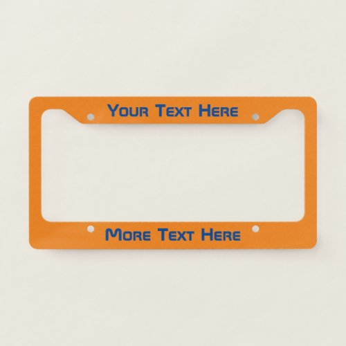 Modern Dark Blue Text on Orange License Plate Frame