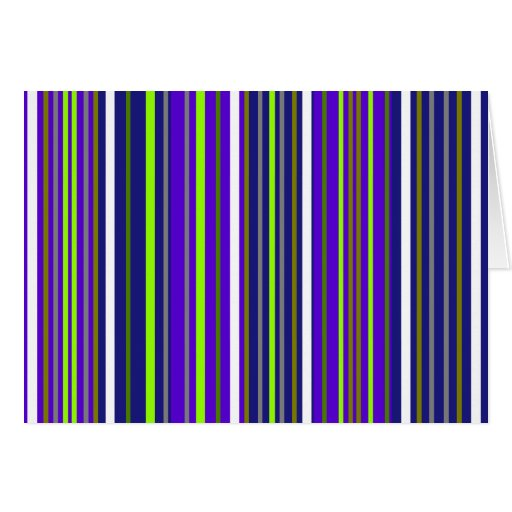 Modern dark blue white and light green stripes greeting card