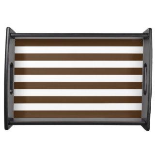 Modern Dark Brown White Stripes Pattern Food Tray