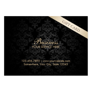 Modern Dark Damask Chubby Gift Certificates Business Cards