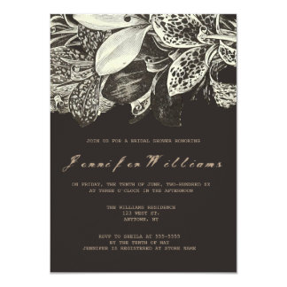 Modern dark floral bridal shower invitations