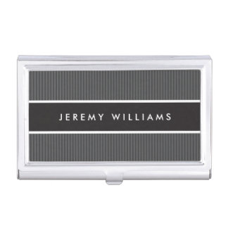 Modern dark gray and black masculine personalized business card case