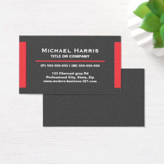 Modern dark gray and red business card