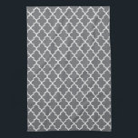 "Modern Dark Gray and White Moroccan Quatrefoil Hand Towel<br><div class=""desc"">Add some style to your kitchen with these cute,  trendy dark gray and white quatrefoil kitchen towels.</div>"