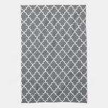 Modern Dark Gray and White Moroccan Quatrefoil Kitchen Towels