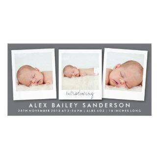 Modern Dark Gray Birth Announcement with 3 Photos