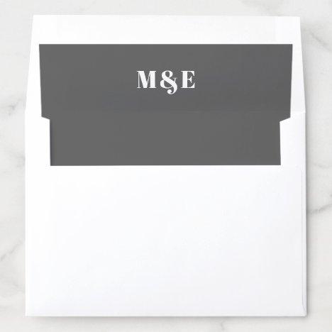 Modern Dark Gray Bold Monogram Wedding Envelope Liner