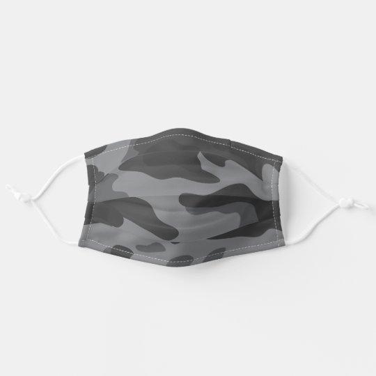 Modern Dark Gray Camo Pattern Adult Cloth Face Mask